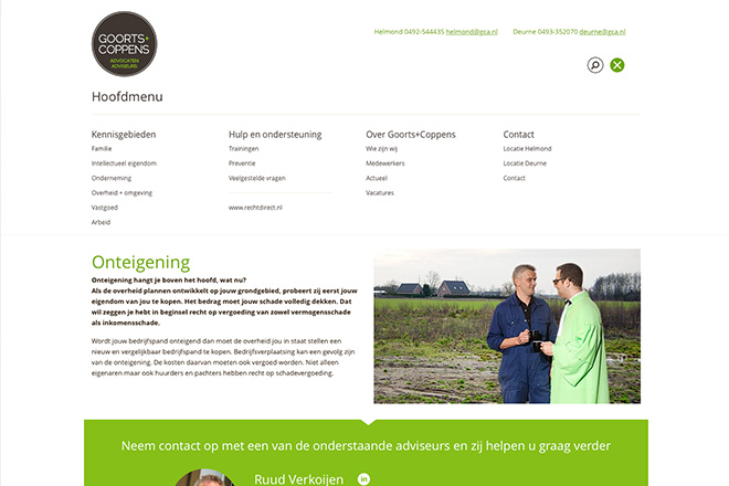 Goorts + Coppens Advocaten website met standaard menu open