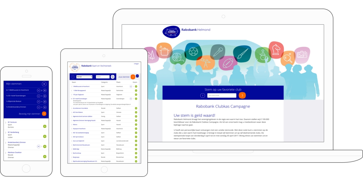 Rabobank Clubkas Campagne case React online